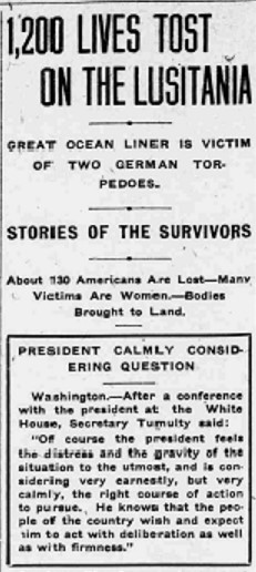 High Point Review article on Lusitania sinking, May 13, 1915