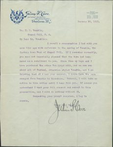 Letter from Julian S. Carr to Francis P. Venable, 20 January 1913. University Papers (collection 40005), University Archives, University of North Carolina at Chapel Hill.