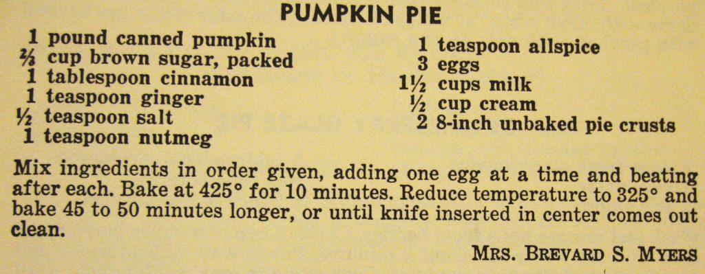 Pumpkin pie - The Charlotte Cookbook - Copy