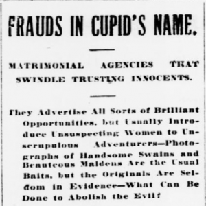 frauds in cupid's name
