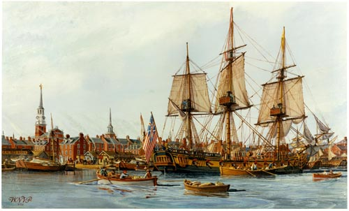 Oil painting by W. Nowland Van Powell, depicting  the Grand Union flag flying on the USS Alfred.  Original in the U.S. Navy Art Collection, Washington, D.C.  U.S. Naval History and Heritage Command Photograph. Source: https://commons.wikimedia.org/wiki/File:NH_85212-KN.jpg