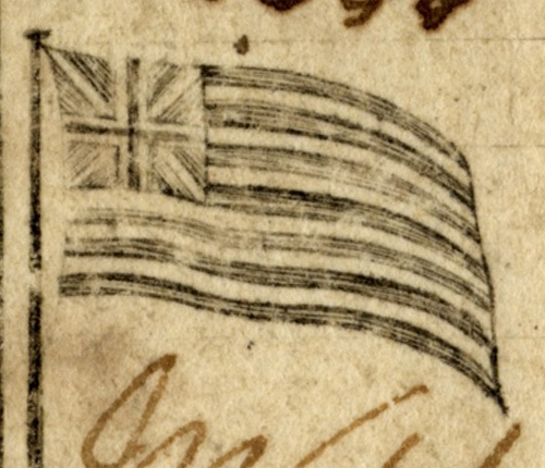 Close-up of the flag vignette on the note.