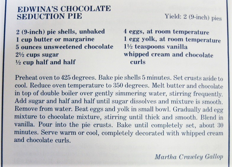 Edwina's Chocolate Seduction Pie-A Dash of Down East