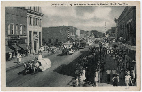 Postcard of early Mule Days parade