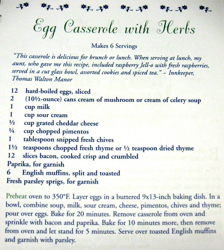 Egg Casserole with Herbs - North Carolina Bed & Breakfast Cookbook