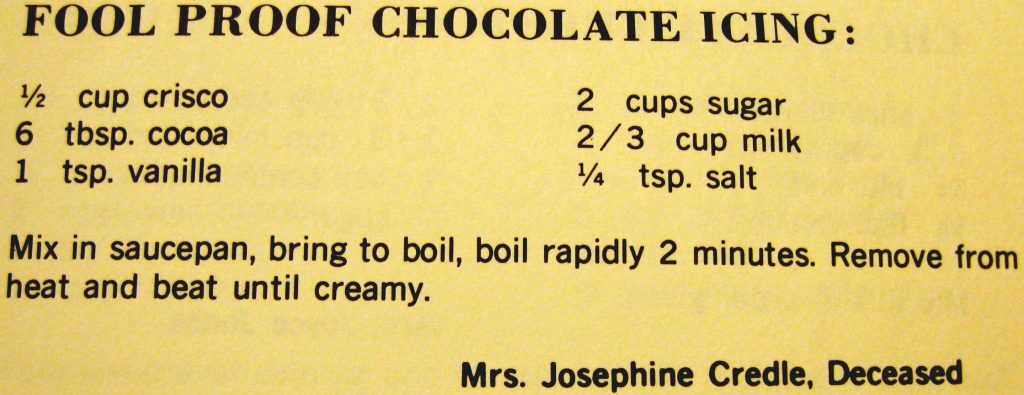 Fool proof chocolate icing - Hyde County Cookbook