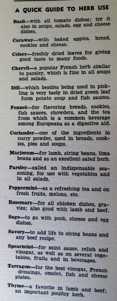 Quick Guide to Herb Use-Waldensian Cookery