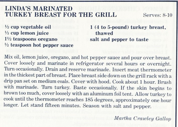 Linda's Marinated Turkey Breast for the Grill - A Dash of Down East