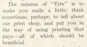 From the first issue of Tips, 1909