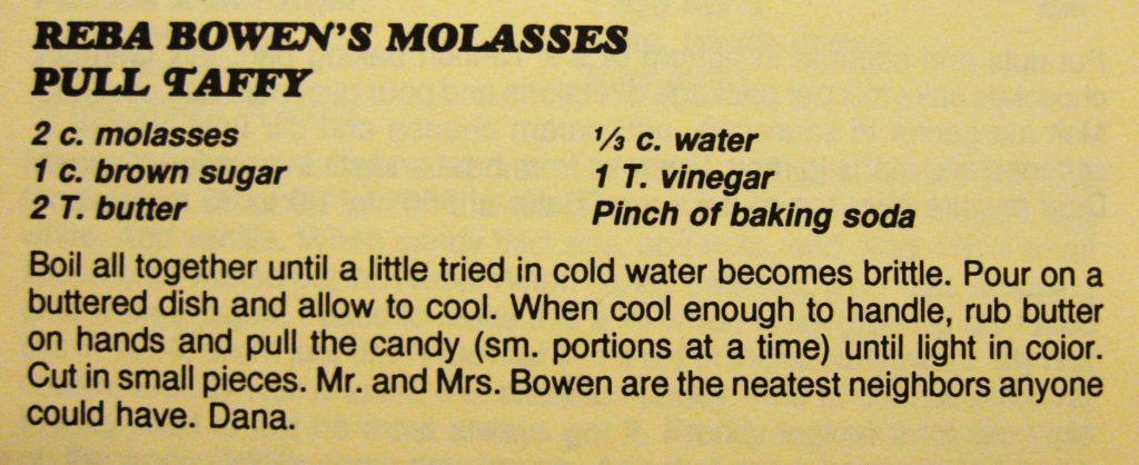 used-10-3-16-reba-bowens-molasses-pull-taffy-columbus-county-cookbook-ii