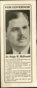 Flyer for Dr. Ralph Mcdonald