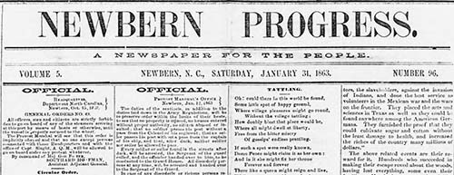 Newbern progress. volume (Newbern, N.C.), 31 Jan. 1863. Chronicling America: Historic American Newspapers. Lib. of Congress.