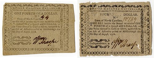 Unaltered note on the left; fraudulent note on the right.
