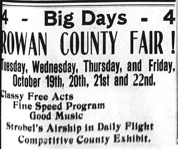 Advertisement for the 1909 Rowan County Fair in the September 20th issue of The Salisbury Evening Post.