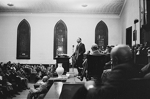 Martin Luther King, Jr. during his speech at White Rock Baptist Church on 16 February 1960.