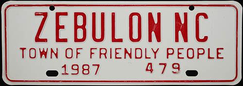 Zebulon license plate