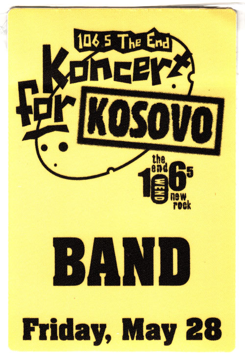 Koncert for Kosovo backstage pass