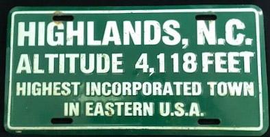 Promotional license plate for Highlands, N.C.
