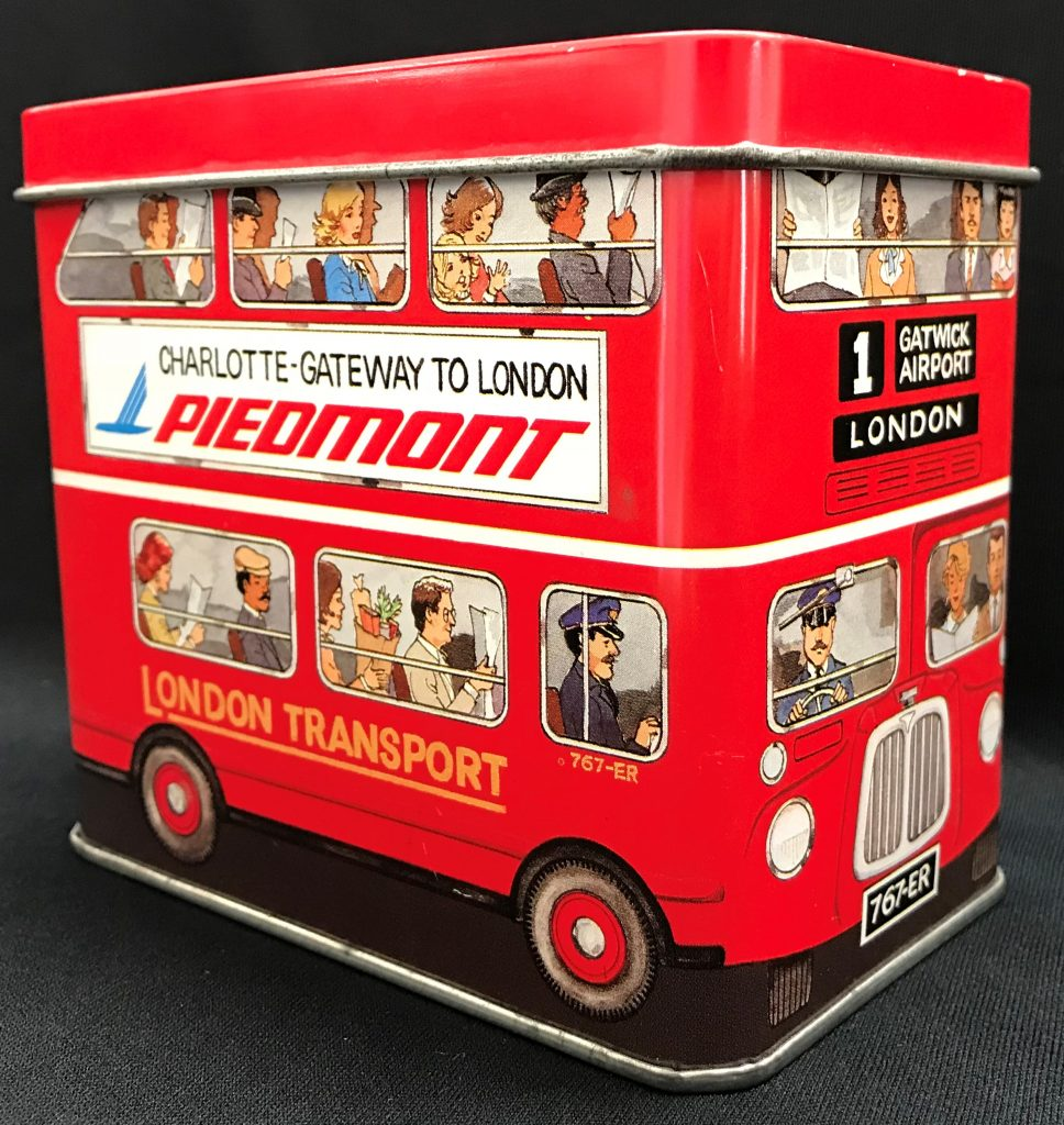 Tin of double decker bus for Piedmont Airlines