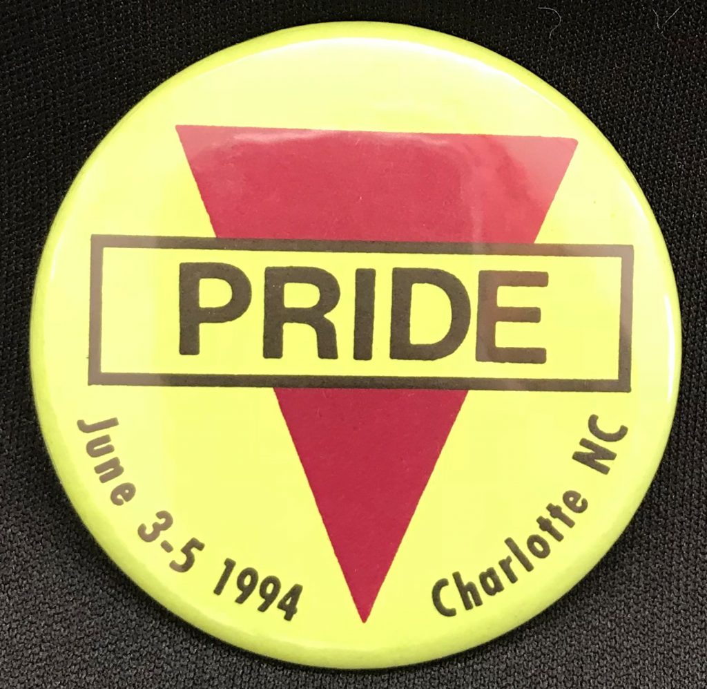 Pinback for Charlotte Pride Parade, 1994