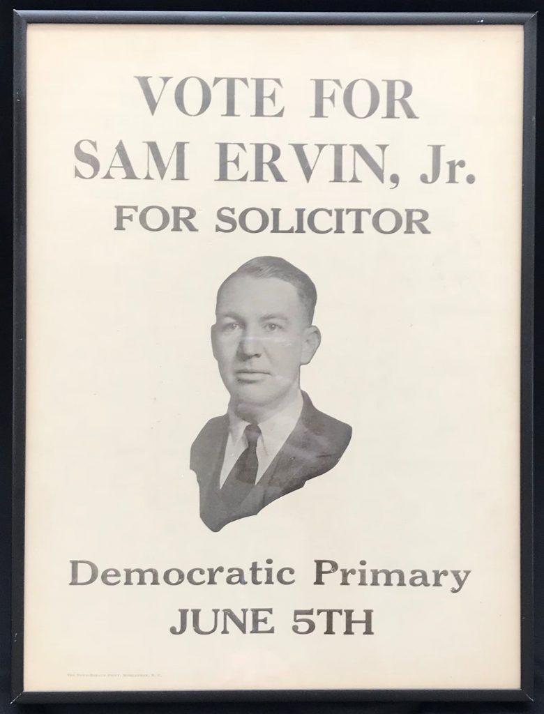 Campaign poster for Sam Ervin Jr for Solicitor