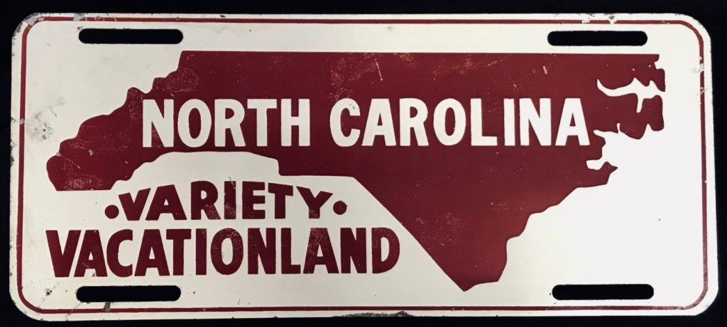 "Front license plate that reads ""North Carolina Variety Vacationland"""