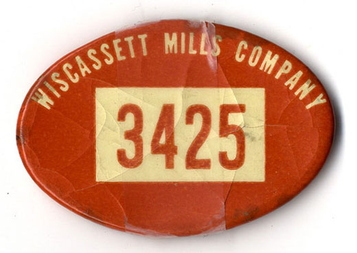 Employee badge for Wiscassett Mills