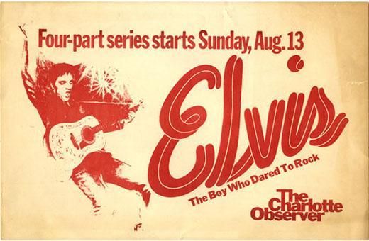 Charlotte Observer rack card for Elvis series beginning August 13