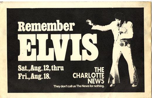 Charlotte News rack card for Elvis series beginning August 12