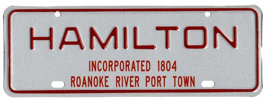 Municipal license plate for Hamilton, N.C.