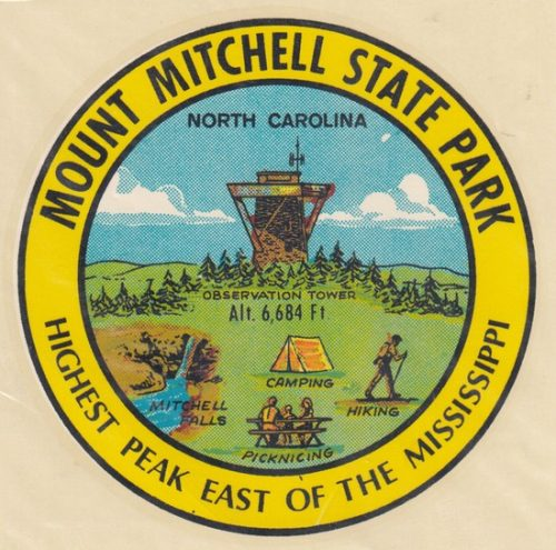 Mount Mitchell State Park decal noting highest peak easet of the Mississippi