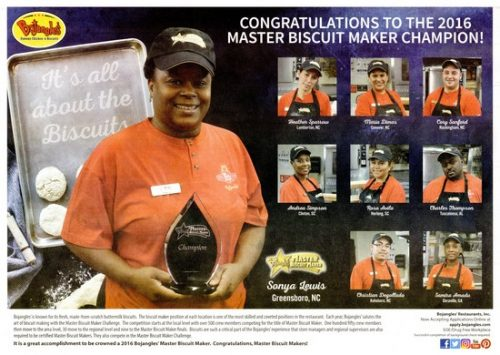Bojangle's placemat congratulating 2016 master biscuit makers with photos