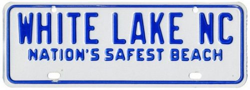 """License plate with words, """"White Lake, Nation's Safest Beach"""""""