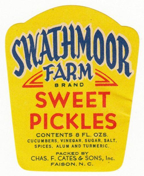 Label for Swathmoor Farm Brand Sweet Pickles