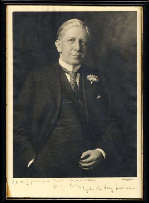 Signed photo portrait of Governor Clyde Hoey