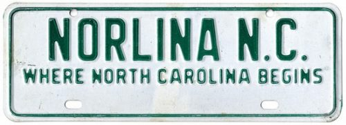 "License plate reading, ""Norlina, where North Carolina begins"""