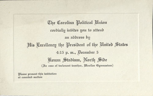 Carolina Political Union invitation to FDR event