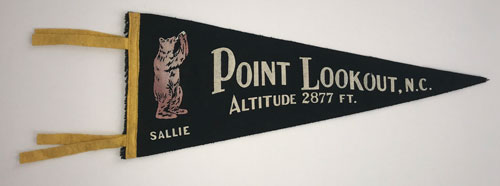 "Pennant that reads ""Point Lookout, N.C., Altitude 2877 feet"""