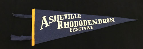 "Pennant reading ""Asheville Rhododendron Festival."""