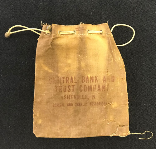 Money bag from Central Bank in Asheville, N.C.