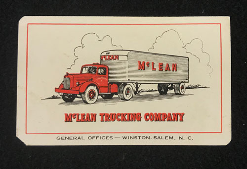 McClean Trucking calendar verso with image of truck