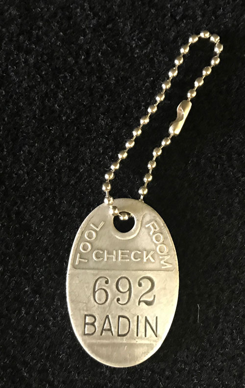 Tool room check medallion for ALCOA Badin plant