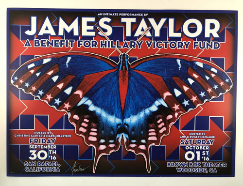 Poster for James Taylor concert showing a red, white and blue butterfly