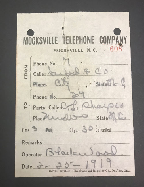 Mocksvile Telephone Company receipt