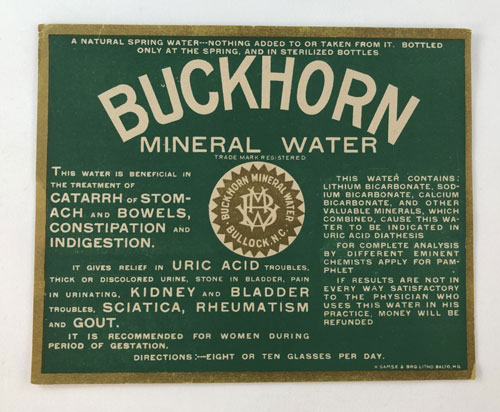Label for Buckhorn Mineral Water listing its benefits for catarrh of stomach and bowels, constipation, and indigestion.