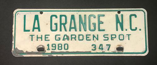 LaGrange, NC license tag