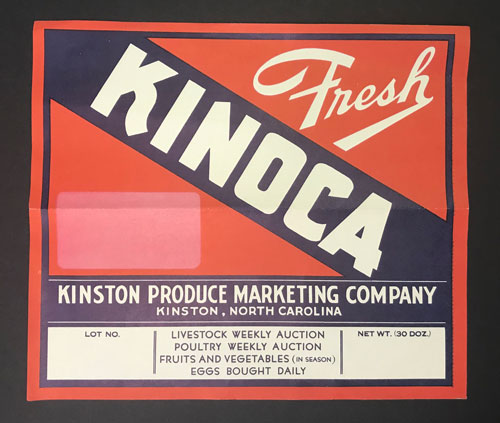 "Label that reads ""Fresh Kinoca"" for Kinston Produce Marketing Company"