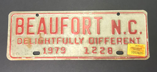 "Front license plate that reads, ""Beaufort N.C., Delightfully Different"""