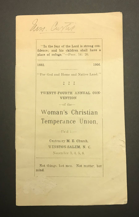Booklet from Woman's Christian Temperance Union meeting in Winston-Salem in November 1906