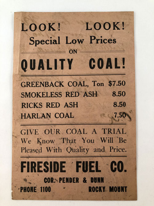 Rocky Mount Coal Company flier